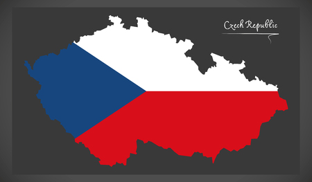 counties: Czech Republic map with national flag illustration Illustration