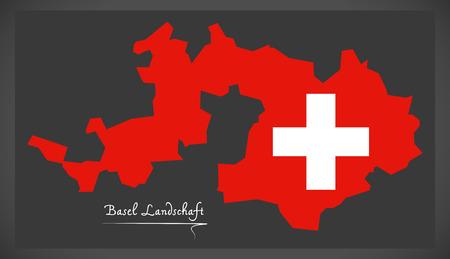 스위스 국기 그림으로 바젤의 스위스지도입니다. 스톡 콘텐츠 - 88959568
