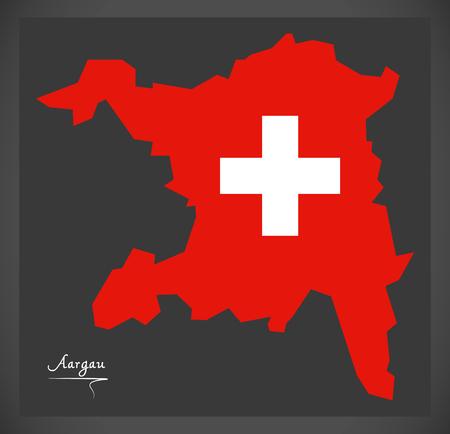 Aargau-kaart van Zwitserland met Zwitserse nationale vlagillustratie.