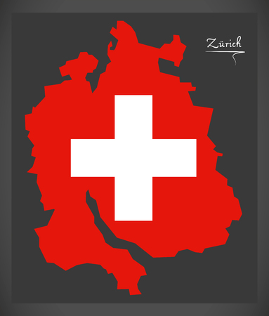 Zuerich map of Switzerland with Swiss national flag illustration.