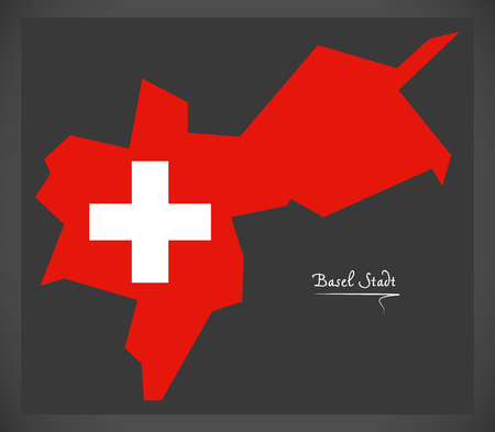 스위스 국기 그림으로 스위스의 바젤 Stadt지도.