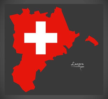 Luzernkaart van Zwitserland met Zwitserse nationale vlagillustratie.