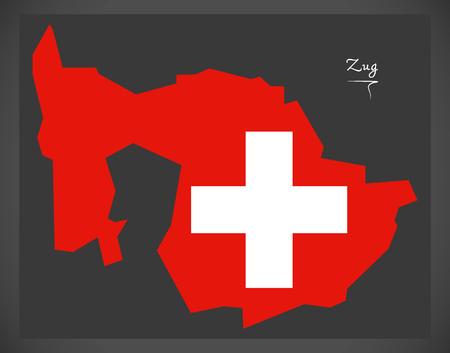 Carte de Zoug de la Suisse avec illustration du drapeau national suisse. Banque d'images - 88959578