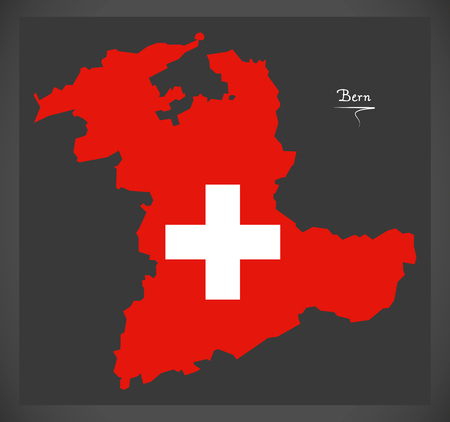 Carte de Berne de la Suisse avec illustration du drapeau national suisse. Banque d'images - 88959579