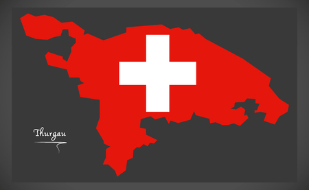 counties: Thurgau map of Switzerland with Swiss national flag illustration.