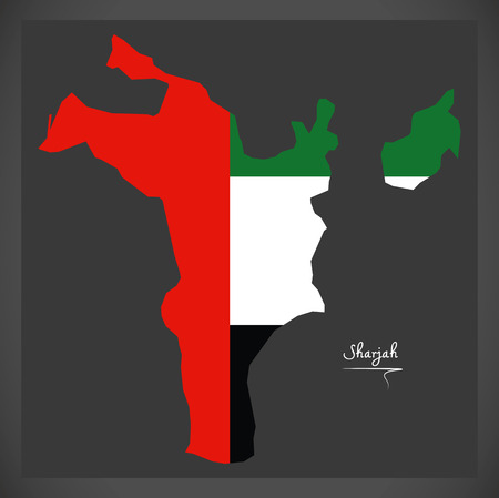Sharjah map of the United Arab Emirates with national flag illustration Illustration