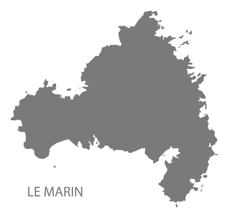 Le Marin map of Martinique grey illustration silhouette shape