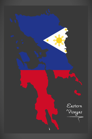 Eastern Visayas map of the Philippines with Philippine national flag illustration