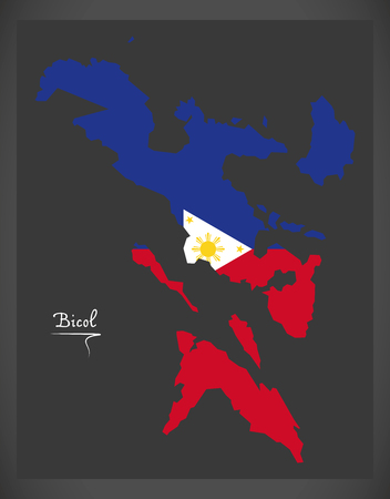 Bicol map of the Philippines with Philippine national flag illustration. Illustration