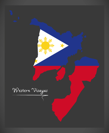 Western Visayas map of the Philippines with Philippine national flag illustration