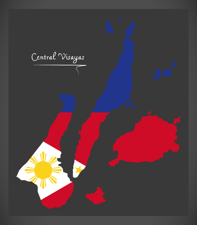 Central Visayas map of the Philippines with Philippine national flag illustration. Stock Vector - 89662747
