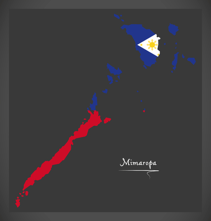 Mimaropa map of the Philippines with Philippine national flag illustration