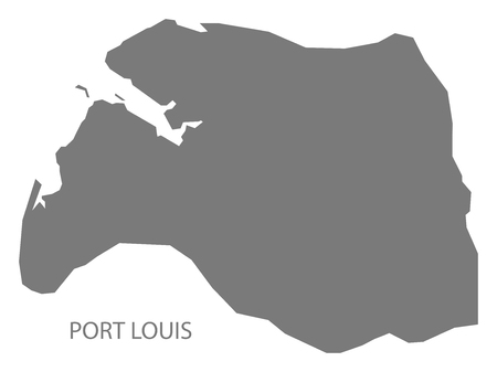 Port Louis map of Mauritius grey illustration silhouette shape