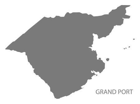 Grand Port map of Mauritius grey illustration silhouette shape