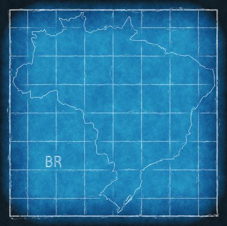 Brazil map blue print artwork illustration silhouette