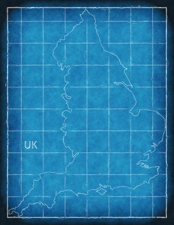 England map blue print artwork illustration silhouette Stock Photo