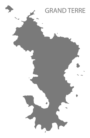 Grand Terre map of Mayotte grey illustration silhouette shape