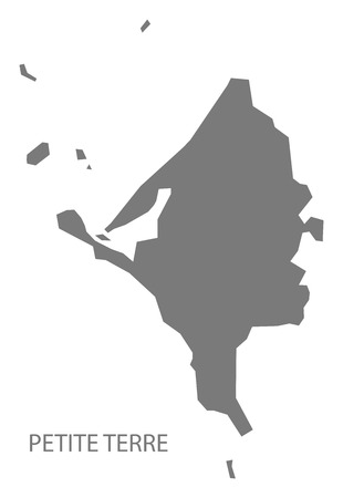 Petite Terre map of Mayotte grey illustration silhouette shape