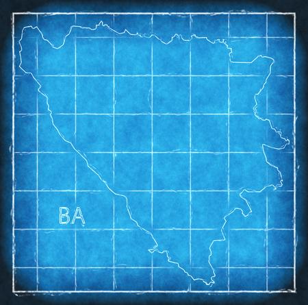 Bosnia Herzegovina map blue print artwork illustration silhouette