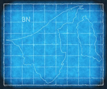 Brunei map blue print artwork illustration silhouette Stock Photo
