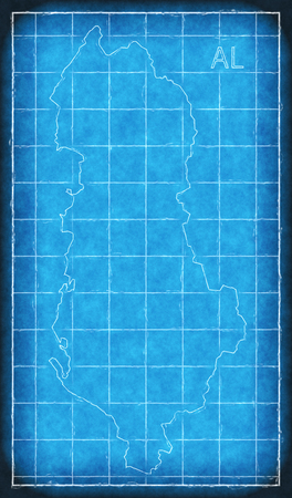 Albania map blue print artwork illustration silhouette