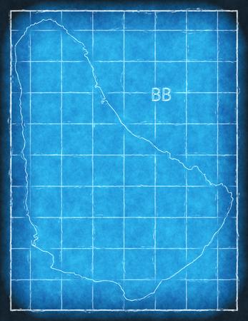 Barbados map blue print artwork illustration silhouette