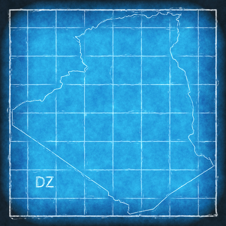 Algeria map blue print artwork illustration silhouette