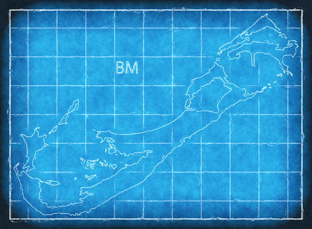 Bermuda map blue print artwork illustration silhouette