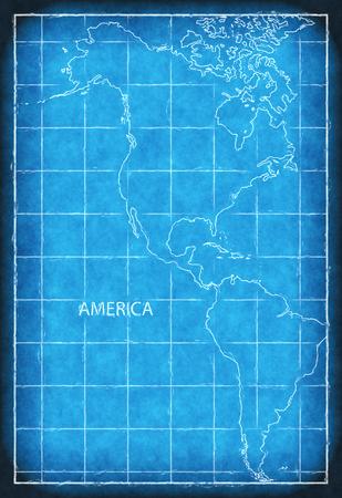 America map blue print artwork illustration silhouette