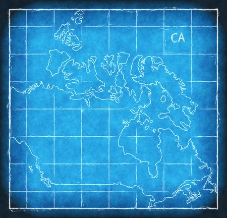 Canada map blue print artwork illustration silhouette Stock Photo