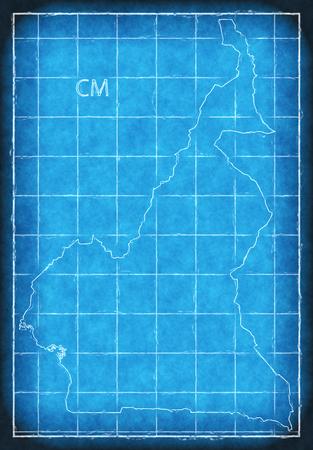 Cameroon map blue print artwork illustration silhouette