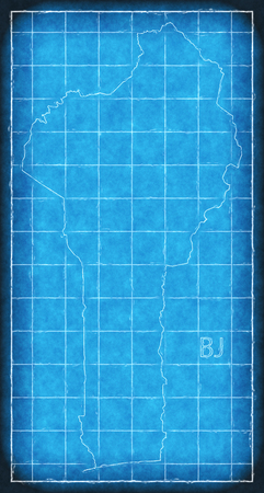 Benin map blue print artwork illustration silhouette