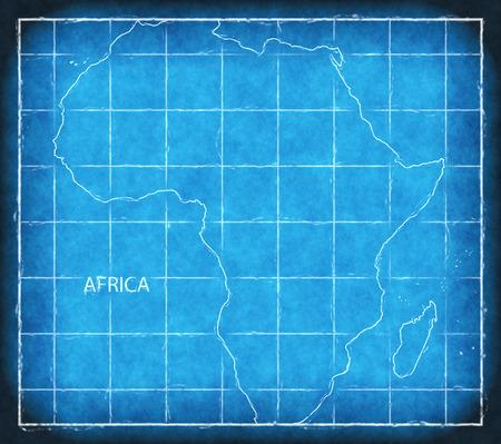 Africa map blue print artwork illustration silhouette Stock Photo