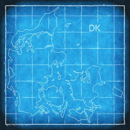 Denmark map blue print artwork illustration silhouette