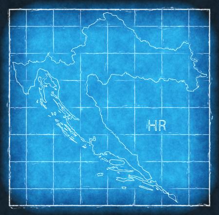 Croatia map blue print artwork illustration silhouette