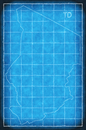 Chad map blue print artwork illustration silhouette