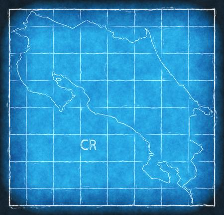 Costa Rica map blue print artwork illustration silhouette