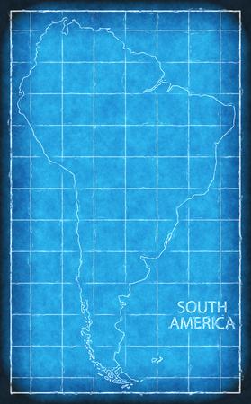 South America map blue print artwork illustration silhouette