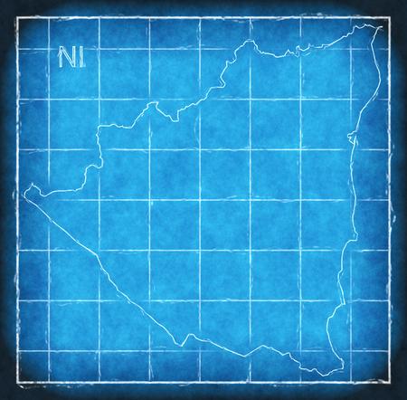 Nicaragua map blue print artwork illustration silhouette