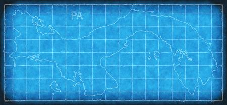 Panama map blue print artwork illustration silhouette