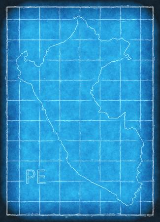 Peru map blue print artwork illustration silhouette Stock Photo