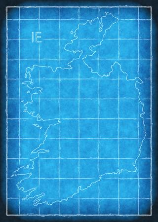Ireland map blue print artwork illustration silhouette