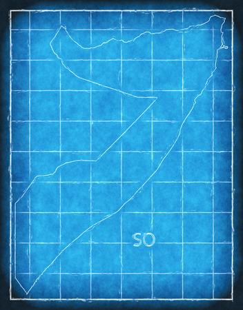 Somalia map blue print artwork illustration silhouette Stock Photo