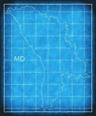 Moldova map blue print artwork illustration silhouette Stock Photo