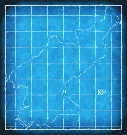North Korea map blue print artwork illustration silhouette Stock Photo
