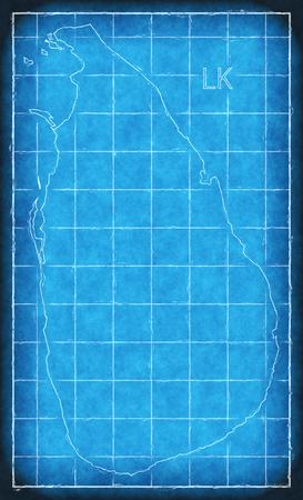 Srr Lanka map blue print artwork illustration silhouette