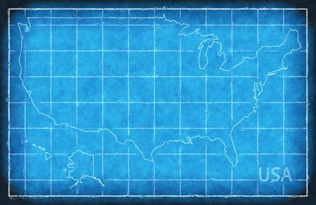 USA map blue print artwork illustration silhouette