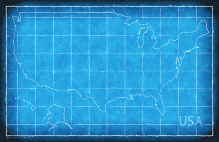 USA map blue print artwork illustration silhouette