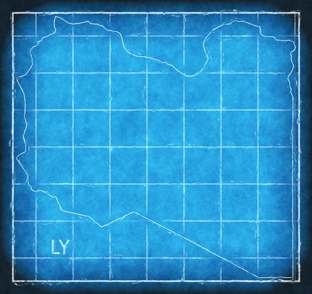Libya map blue print artwork illustration silhouette
