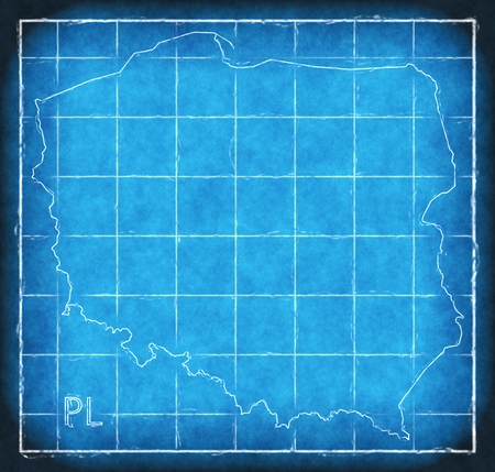 Poland map blue print artwork illustration silhouette